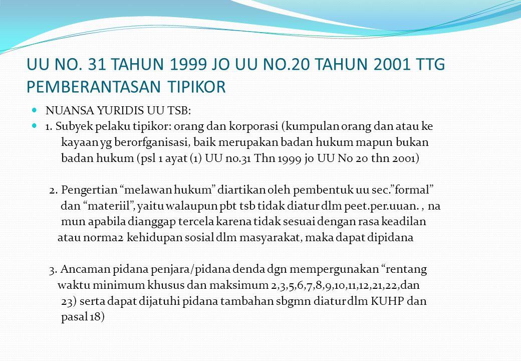 UU NO. 31 TAHUN 1999 JO UU NO.20 TAHUN 2001 TTG PEMBERANTASAN TIPIKOR NUANSA YURIDIS UU TSB: 1. Subyek pelaku tipikor: orang dan korporasi (kumpulan o