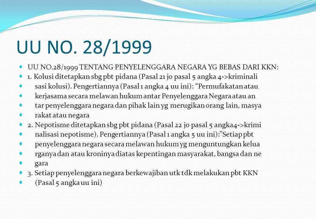 UU NO. 28/1999 UU NO.28/1999 TENTANG PENYELENGGARA NEGARA YG BEBAS DARI KKN: 1. Kolusi ditetapkan sbg pbt pidana (Pasal 21 jo pasal 5 angka 4->krimina