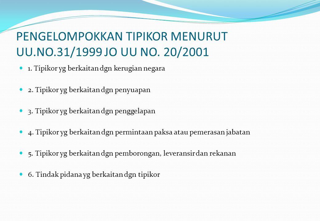 PENGELOMPOKKAN TIPIKOR MENURUT UU.NO.31/1999 JO UU NO.