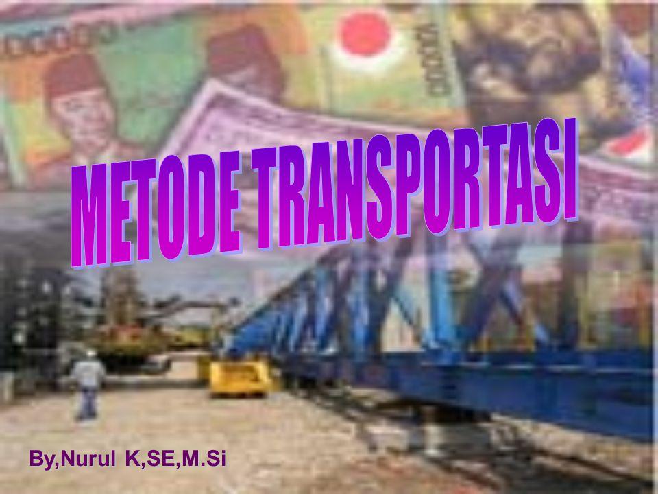 METODE TRANSPORTASI  Definisi : Metode yang digunakan untuk mengatur distribusi dari sumber-sumber yang menyediakan produk yang sama, ke tempat-tempat yang membutuhkan secara optimal.