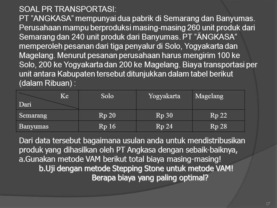 "17 SOAL PR TRANSPORTASI: PT ""ANGKASA"" mempunyai dua pabrik di Semarang dan Banyumas. Perusahaan mampu berproduksi masing-masing 260 unit produk dari S"