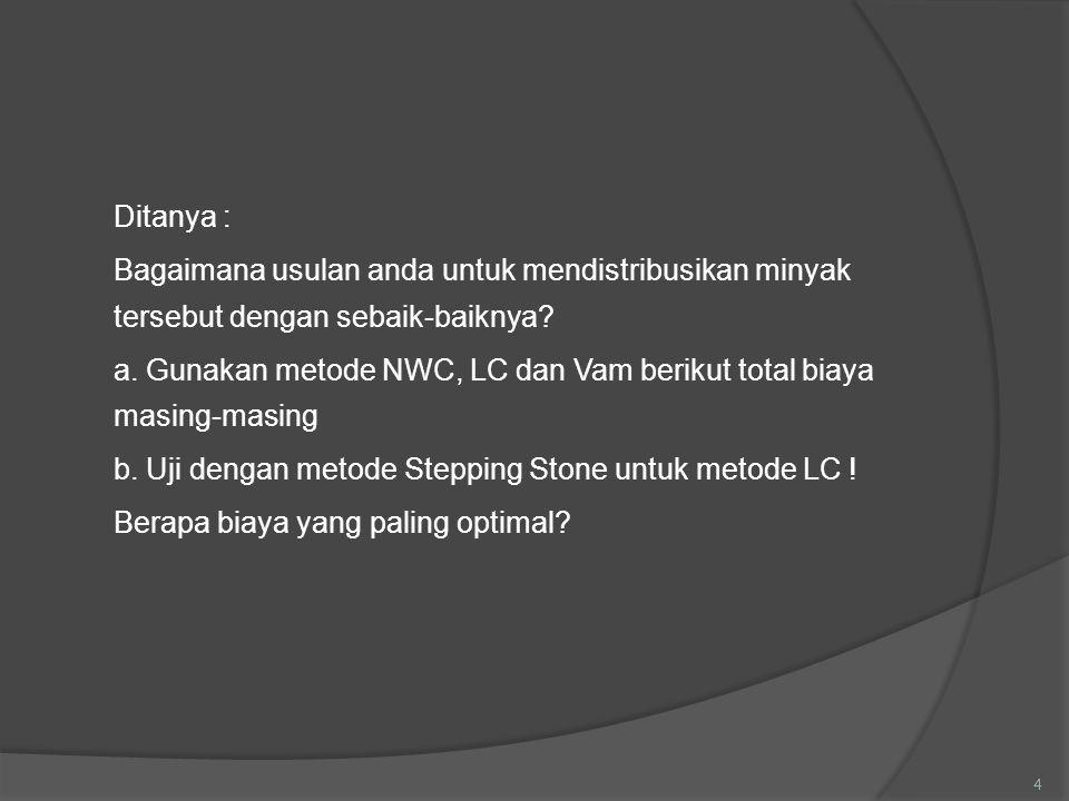 Ditanya : Bagaimana usulan anda untuk mendistribusikan minyak tersebut dengan sebaik-baiknya? a. Gunakan metode NWC, LC dan Vam berikut total biaya ma