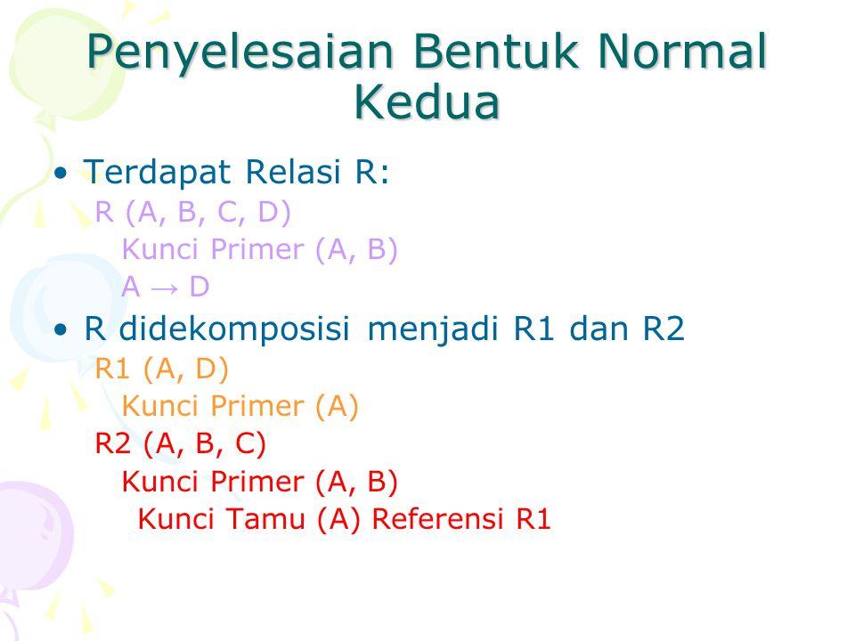 Penyelesaian Bentuk Normal Kedua Terdapat Relasi R: R (A, B, C, D) Kunci Primer (A, B) A → D R didekomposisi menjadi R1 dan R2 R1 (A, D) Kunci Primer (A) R2 (A, B, C) Kunci Primer (A, B) Kunci Tamu (A) Referensi R1