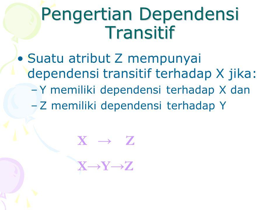 Pengertian Dependensi Transitif Suatu atribut Z mempunyai dependensi transitif terhadap X jika: –Y memiliki dependensi terhadap X dan –Z memiliki dependensi terhadap Y X → Z X→Y→Z
