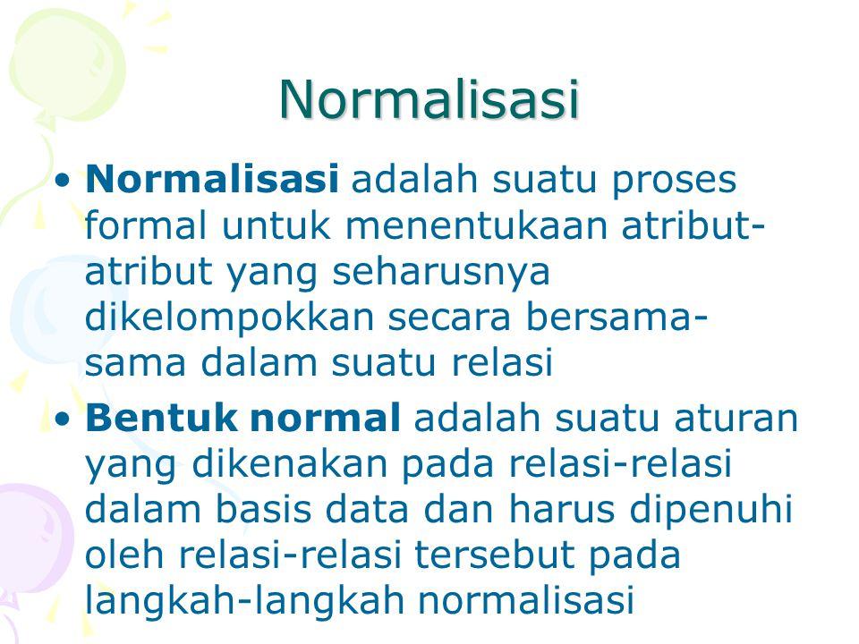 Normalisasi Normalisasi adalah suatu proses formal untuk menentukaan atribut- atribut yang seharusnya dikelompokkan secara bersama- sama dalam suatu relasi Bentuk normal adalah suatu aturan yang dikenakan pada relasi-relasi dalam basis data dan harus dipenuhi oleh relasi-relasi tersebut pada langkah-langkah normalisasi