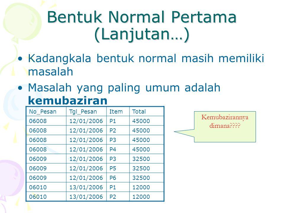 Bentuk Normal Pertama (Lanjutan…) Kadangkala bentuk normal masih memiliki masalah Masalah yang paling umum adalah kemubaziran No_PesanTgl_PesanItemTotal 0600812/01/2006P145000 0600812/01/2006P245000 0600812/01/2006P345000 0600812/01/2006P445000 0600912/01/2006P332500 0600912/01/2006P532500 0600912/01/2006P632500 0601013/01/2006P112000 0601013/01/2006P212000 Kemubazirannya dimana????