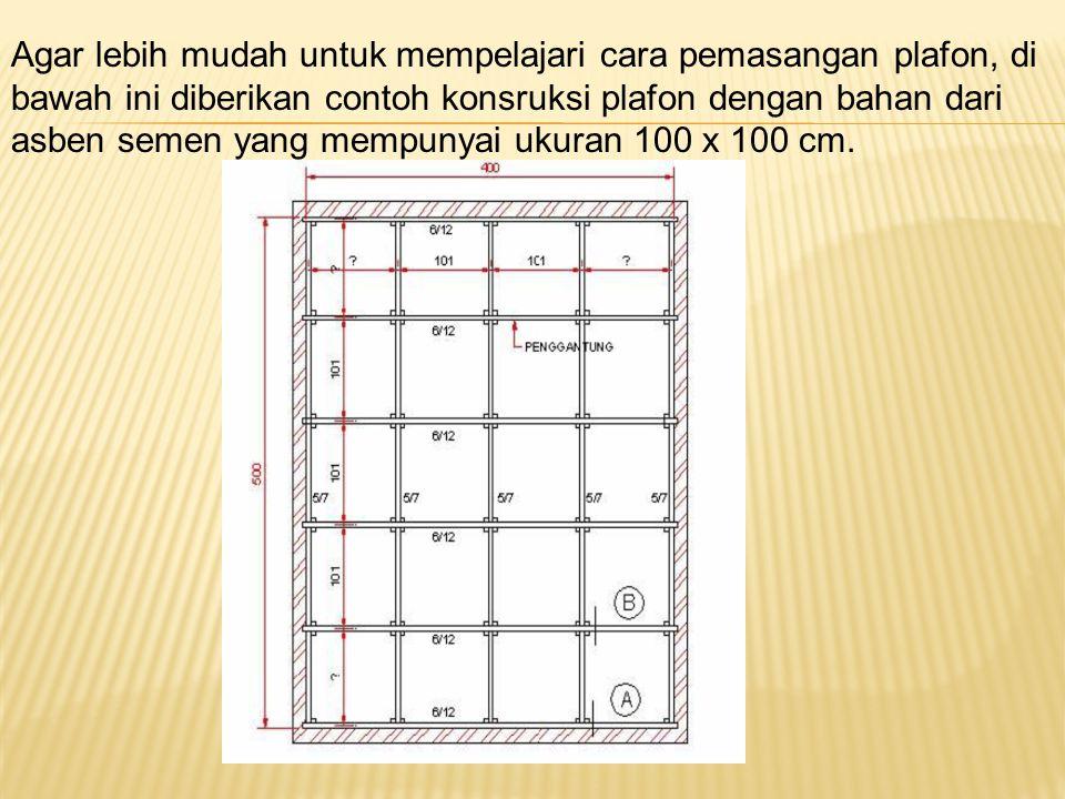 Agar lebih mudah untuk mempelajari cara pemasangan plafon, di bawah ini diberikan contoh konsruksi plafon dengan bahan dari asben semen yang mempunyai