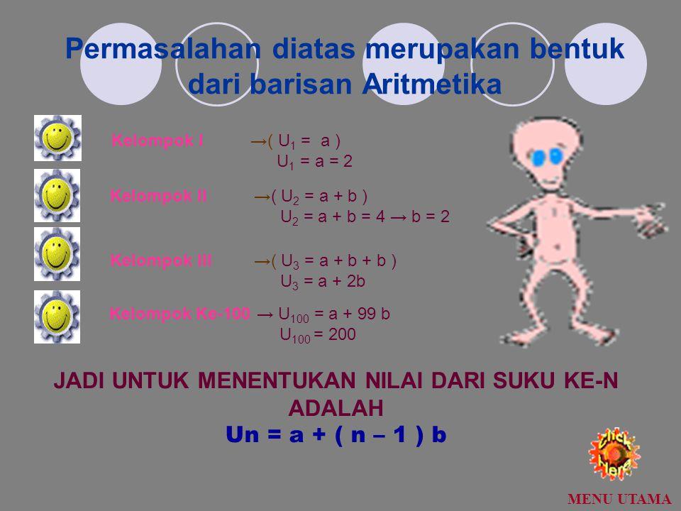 Permasalahan diatas merupakan bentuk dari barisan Aritmetika Kelompok I →( U 1 = a ) U 1 = a = 2 Kelompok II →( U 2 = a + b ) U 2 = a + b = 4 → b = 2 Kelompok III →( U 3 = a + b + b ) U 3 = a + 2b Kelompok Ke-100 → U 100 = a + 99 b U 100 = 200 JADI UNTUK MENENTUKAN NILAI DARI SUKU KE-N ADALAH Un = a + ( n – 1 ) b MENU UTAMA