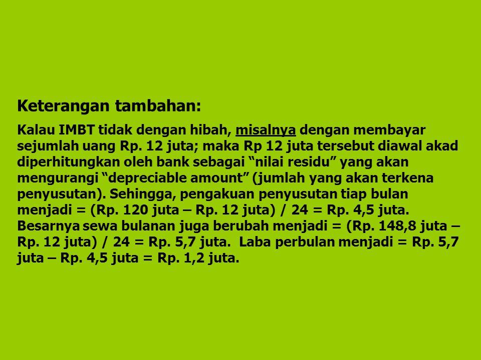 Keterangan tambahan: Kalau IMBT tidak dengan hibah, misalnya dengan membayar sejumlah uang Rp. 12 juta; maka Rp 12 juta tersebut diawal akad diperhitu