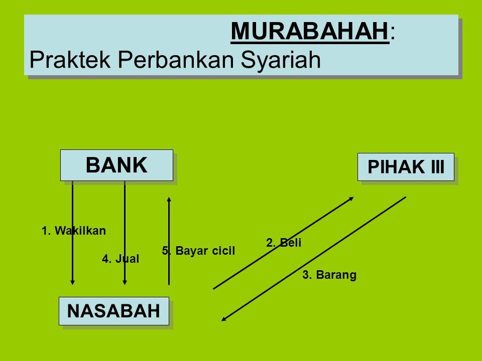 2. Beli 3. Barang 1. Wakilkan 5. Bayar cicil 4. Jual MURABAHAH: Praktek Perbankan Syariah NASABAH BANK PIHAK III