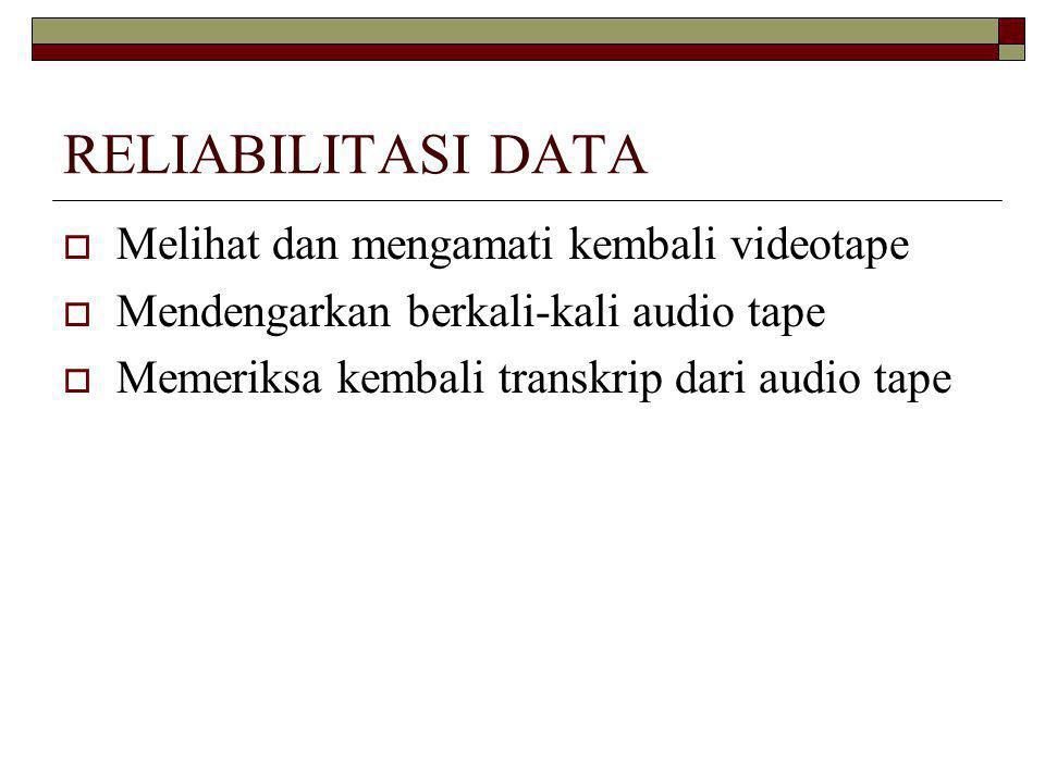RELIABILITASI DATA  Melihat dan mengamati kembali videotape  Mendengarkan berkali-kali audio tape  Memeriksa kembali transkrip dari audio tape