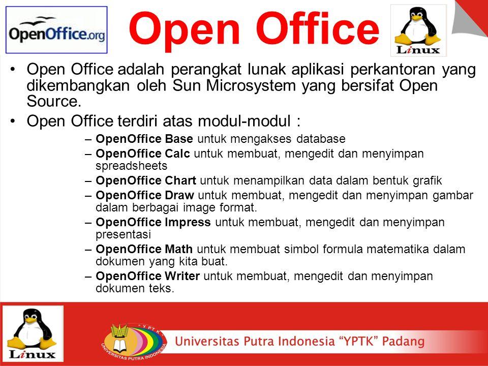 Open Office Open Office adalah perangkat lunak aplikasi perkantoran yang dikembangkan oleh Sun Microsystem yang bersifat Open Source. Open Office terd
