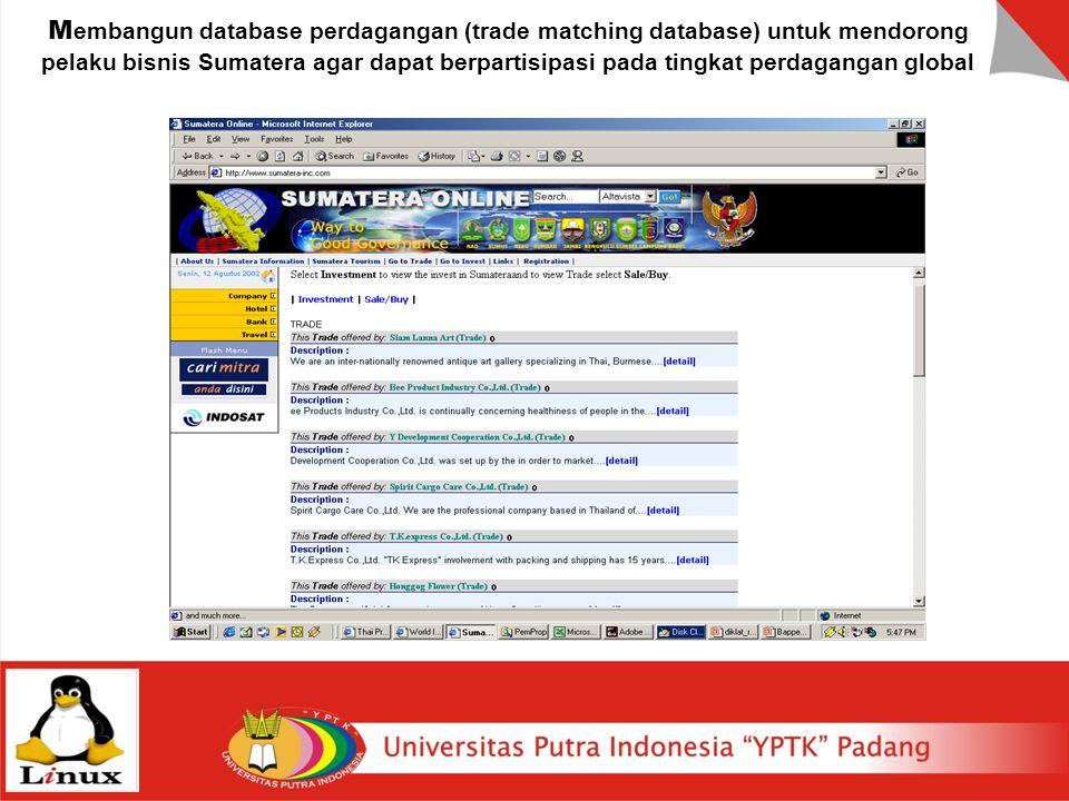 M embangun database perdagangan (trade matching database) untuk mendorong pelaku bisnis Sumatera agar dapat berpartisipasi pada tingkat perdagangan gl