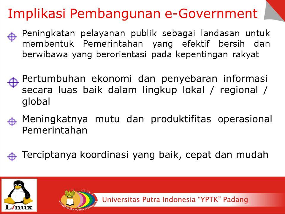 Implikasi Pembangunan e-Government Peningkatan pelayanan publik sebagai landasan untuk membentuk Pemerintahan yang efektif bersih dan berwibawa yang b