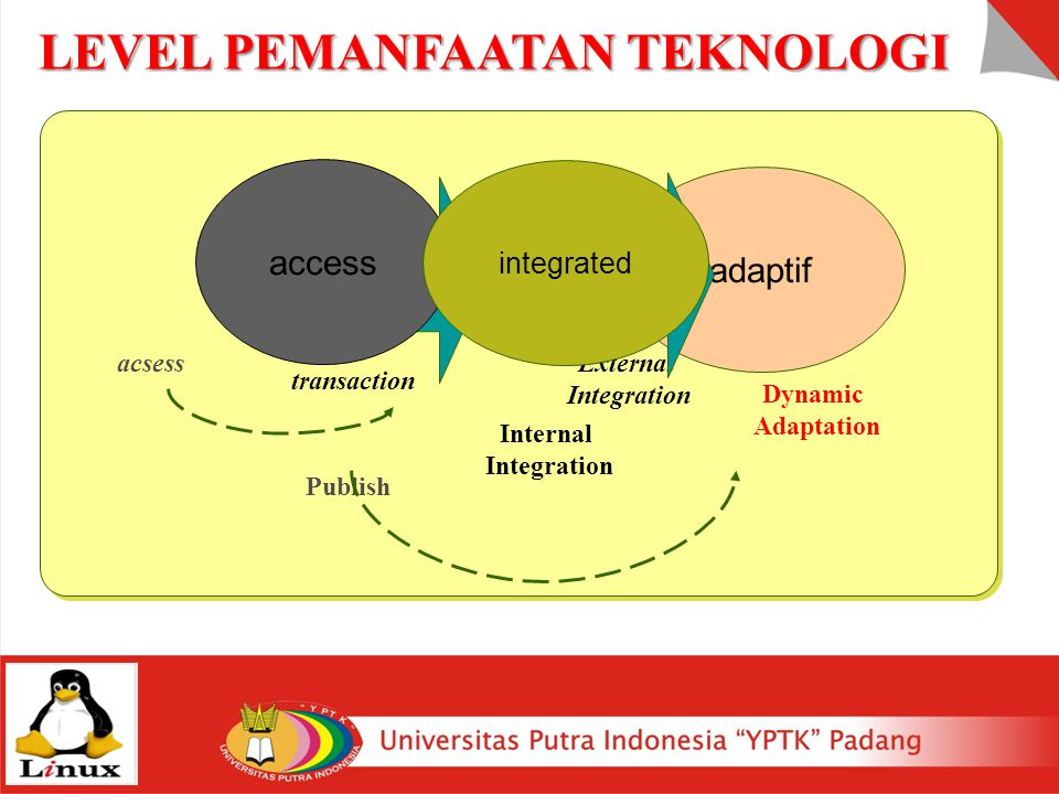 adaptif Dynamic Adaptation transaction External Integration access acsess Publish integrated Internal Integration LEVEL PEMANFAATAN TEKNOLOGI