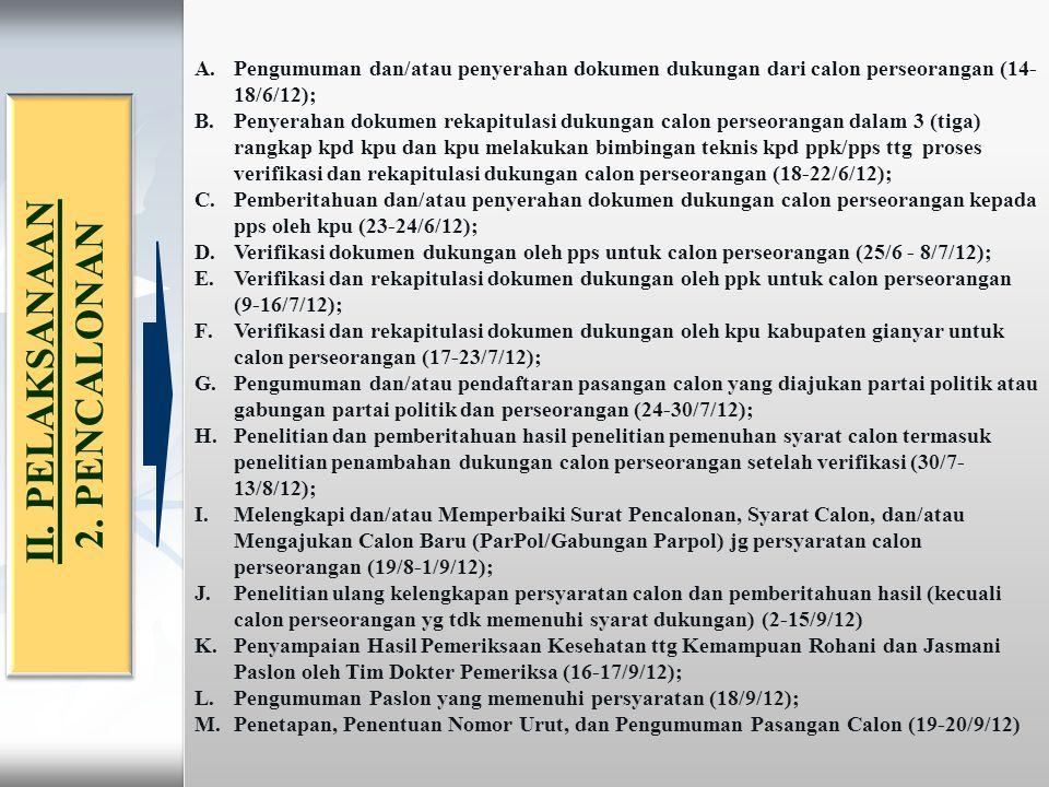 2.PENCALONAN (peraturan KPU no 13 th 2010) 1.