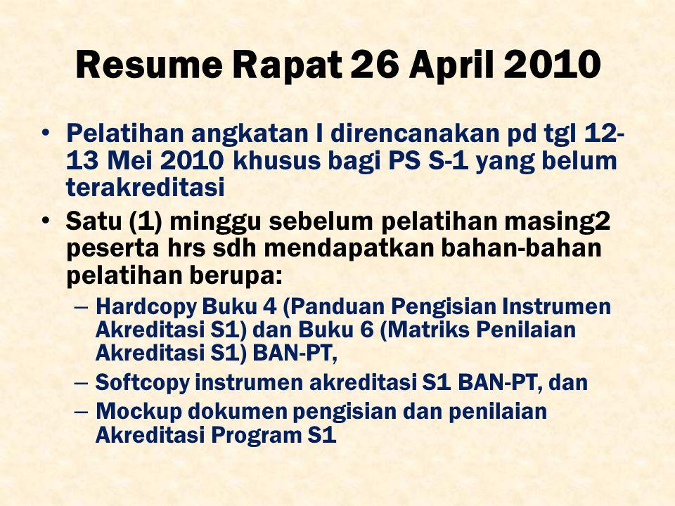 Resume Rapat 26 April 2010 Pelatihan angkatan I direncanakan pd tgl 12- 13 Mei 2010 khusus bagi PS S-1 yang belum terakreditasi Satu (1) minggu sebelu