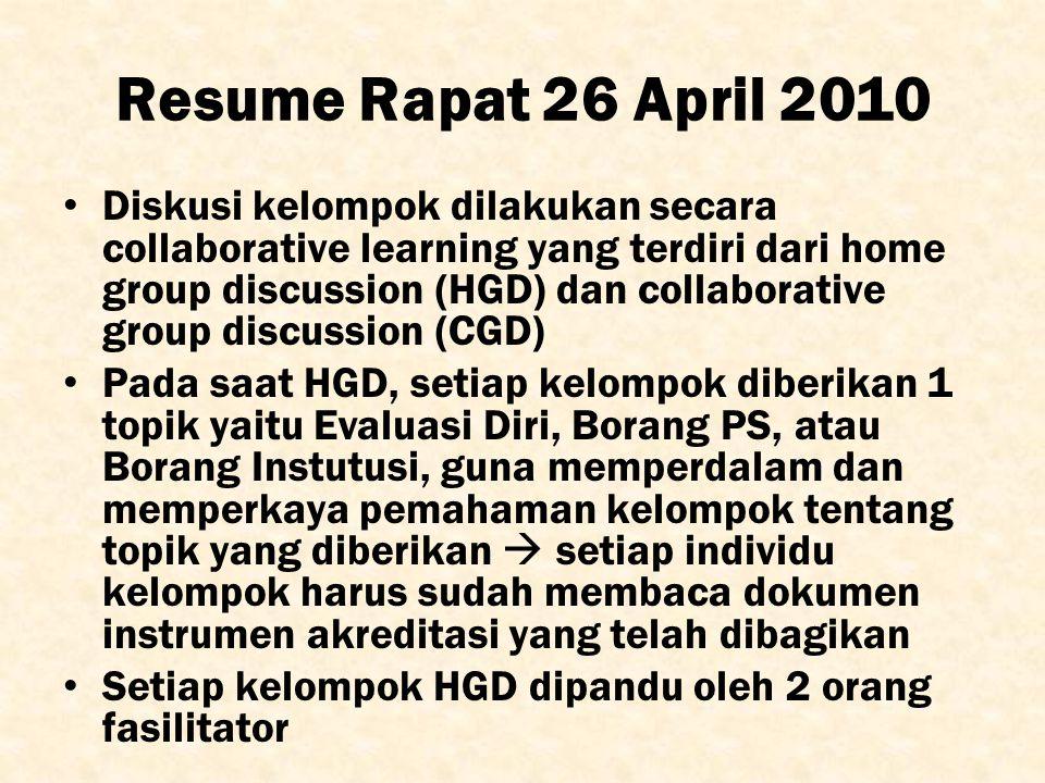 Resume Rapat 26 April 2010 Diskusi kelompok dilakukan secara collaborative learning yang terdiri dari home group discussion (HGD) dan collaborative gr