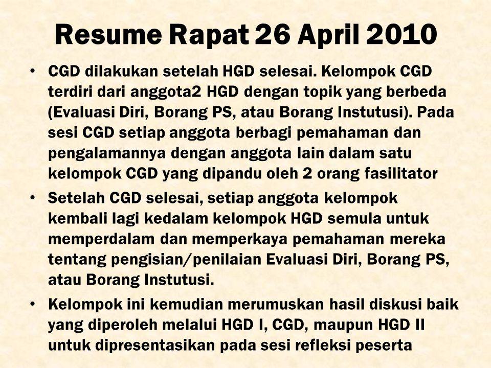 Resume Rapat 26 April 2010 CGD dilakukan setelah HGD selesai. Kelompok CGD terdiri dari anggota2 HGD dengan topik yang berbeda (Evaluasi Diri, Borang