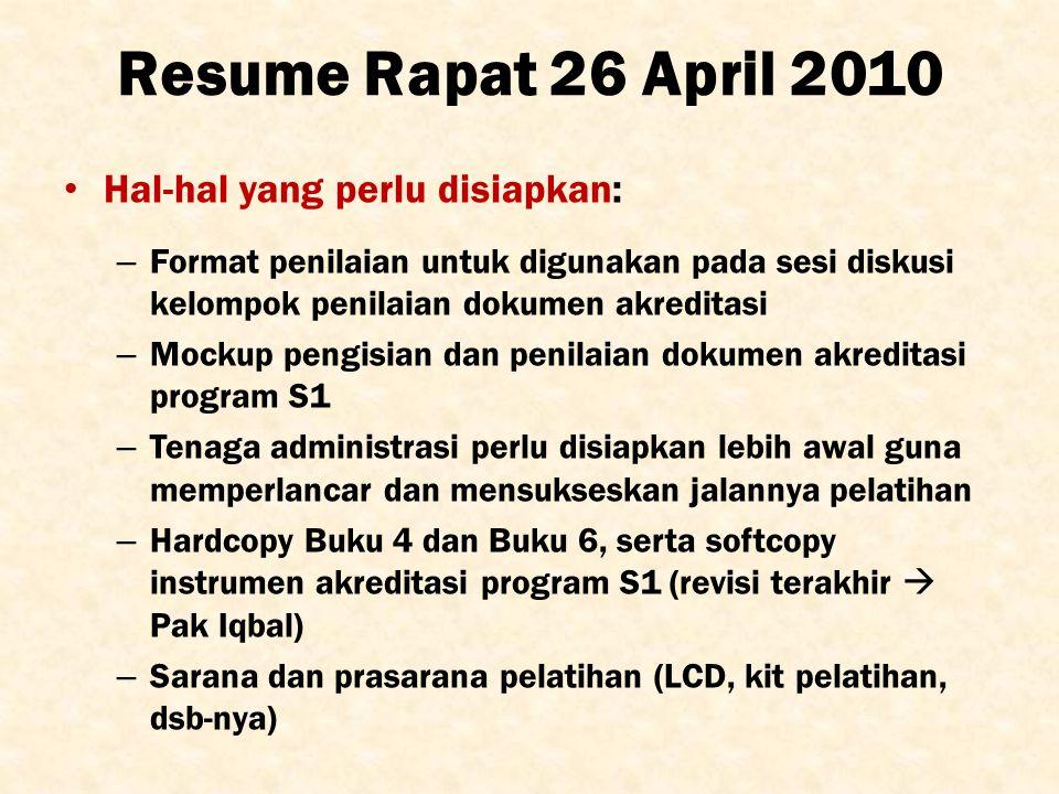 Resume Rapat 26 April 2010 Hal-hal yang perlu disiapkan: – Format penilaian untuk digunakan pada sesi diskusi kelompok penilaian dokumen akreditasi –