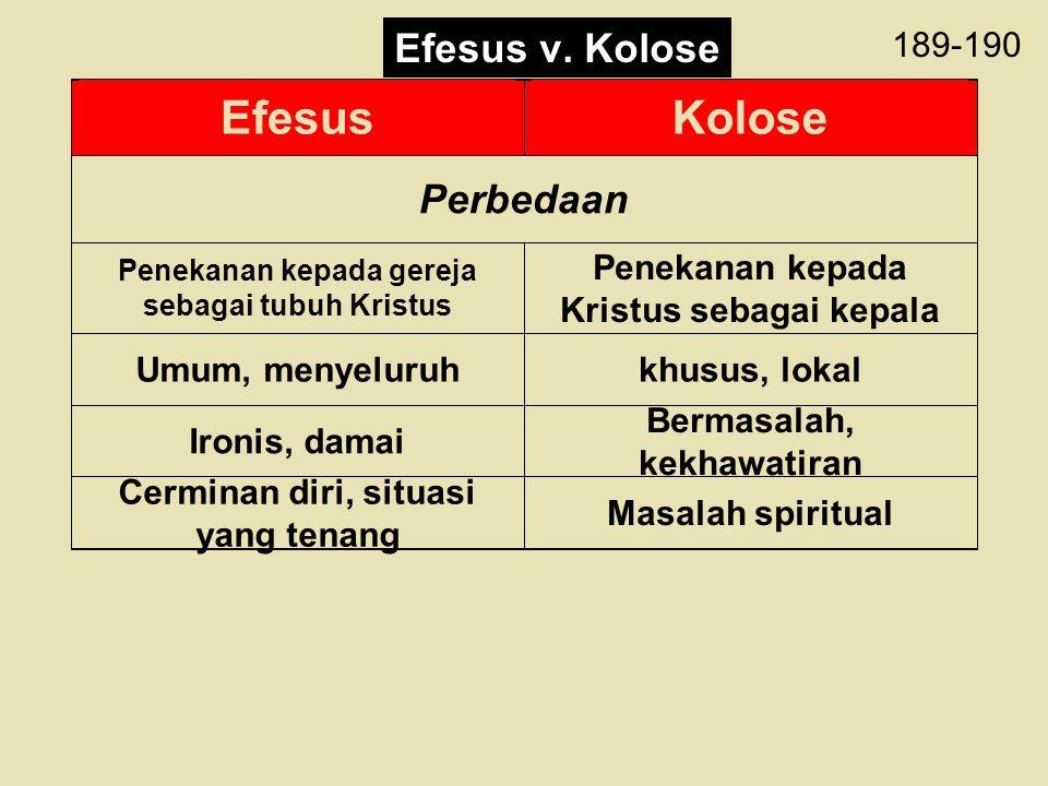 189-190 EfesusKolose Perbedaan Penekanan kepada gereja sebagai tubuh Kristus Penekanan kepada Kristus sebagai kepala Umum, menyeluruhkhusus, lokal Iro
