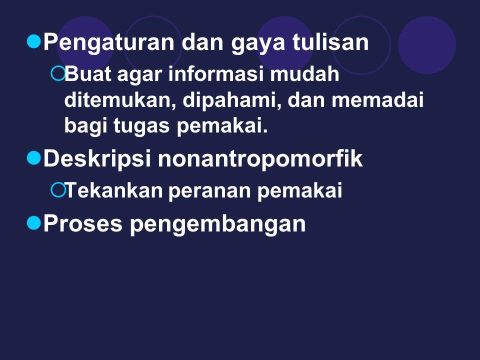 Pengaturan dan gaya tulisan  Buat agar informasi mudah ditemukan, dipahami, dan memadai bagi tugas pemakai.
