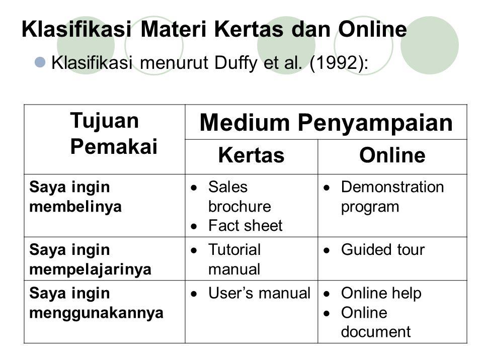 Klasifikasi Materi Kertas dan Online Klasifikasi menurut Duffy et al.