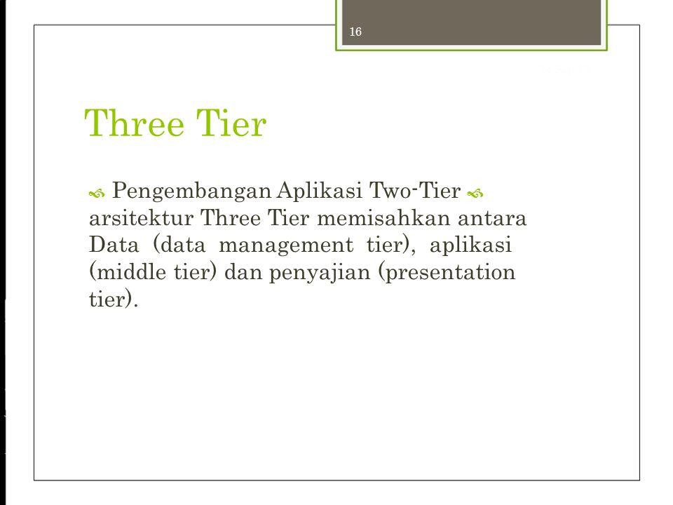16 24-Sep-12 Three Tier  Pengembangan Aplikasi Two-Tier  arsitektur Three Tier memisahkan antara Data (data management tier), aplikasi (middle tier)
