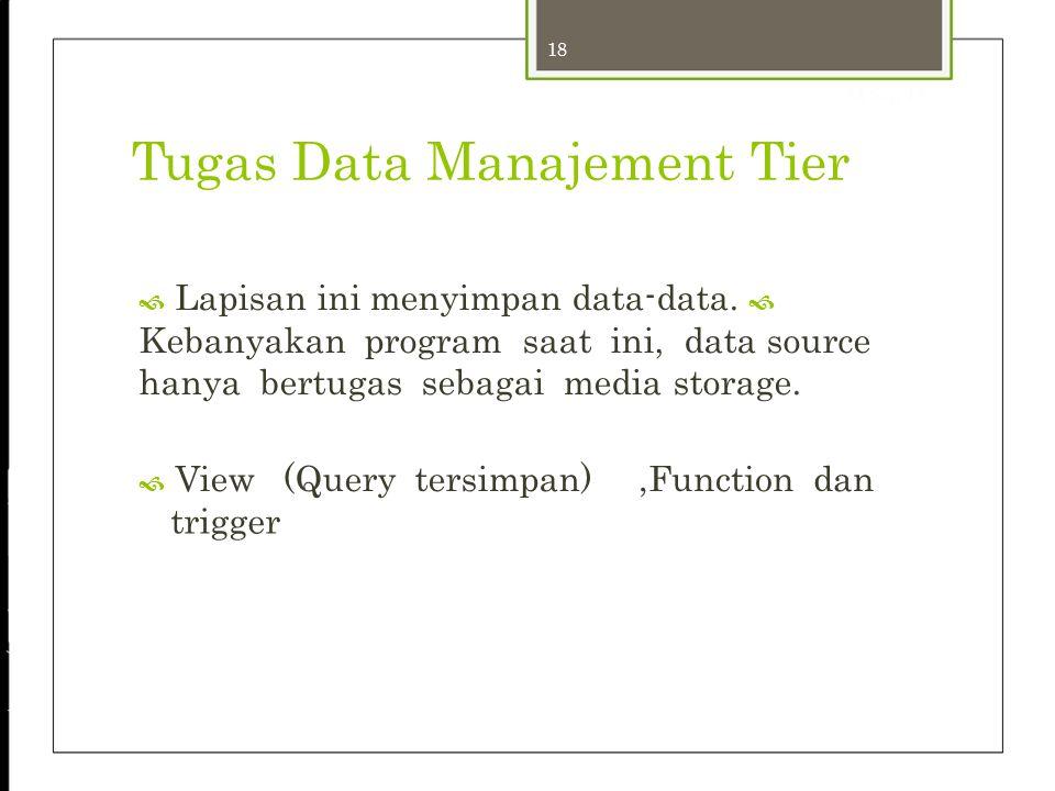 18 24-Sep-12 Tugas Data Manajement Tier  Lapisan ini menyimpan data-data.  Kebanyakan program saat ini, data source hanya bertugas sebagai media sto