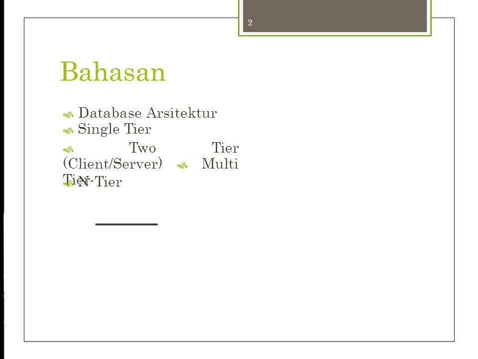 2 24-Sep-12 Bahasan  Database Arsitektur  Single Tier  Two Tier (Client/Server)  Multi Tier  N-Tier