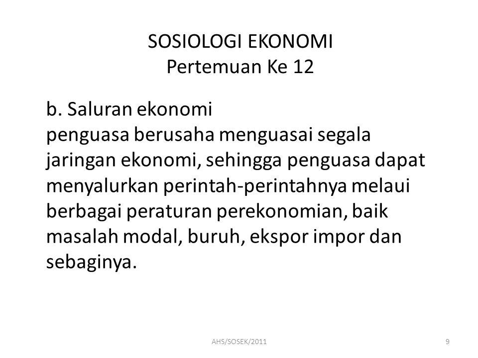 SOSIOLOGI EKONOMI Pertemuan Ke 12 2.