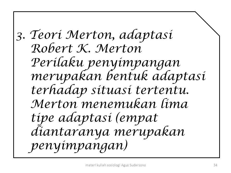 3. Teori Merton, adaptasi Robert K. Merton Perilaku penyimpangan merupakan bentuk adaptasi terhadap situasi tertentu. Merton menemukan lima tipe adapt