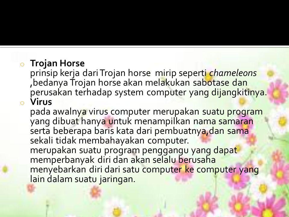 o Trojan Horse prinsip kerja dari Trojan horse mirip seperti chameleons,bedanya Trojan horse akan melakukan sabotase dan perusakan terhadap system com