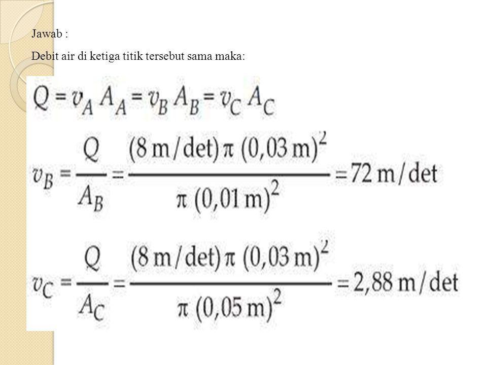 Jawab : Debit air di ketiga titik tersebut sama maka: