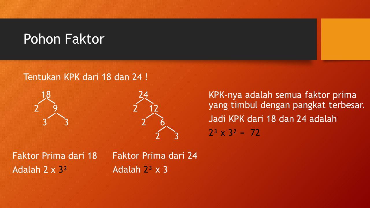 Pohon Faktor Tentukan KPK dari 18 dan 24 ! 18 2 9 3 3 24 2 12 2 6 2 3 Faktor Prima dari 18 Adalah 2 x 3² Faktor Prima dari 24 Adalah 2³ x 3 KPK-nya ad