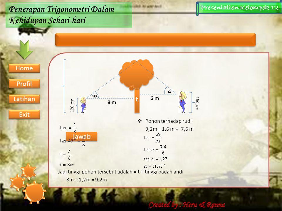 Contoh Soal Penerapan Trigonometri Dalam Kehidupan Sehari-hari Presentation Kelompok 12 1.Andi berdiri 8 m dari sebuah pohon. Ia melihat puncak terseb