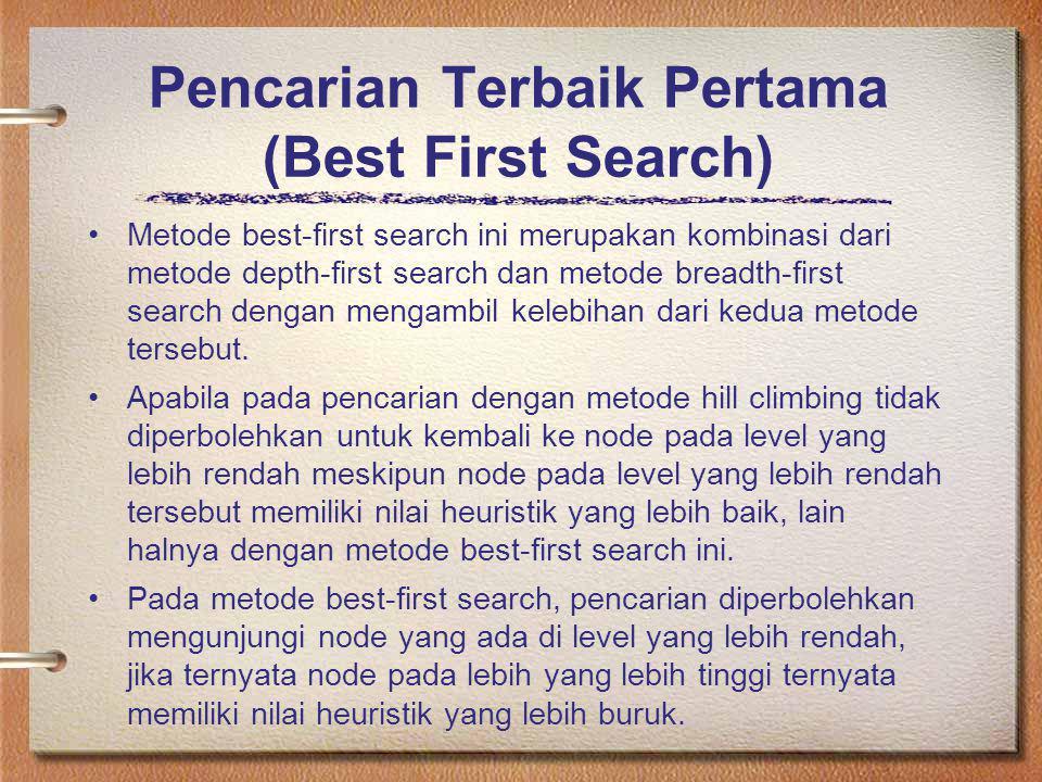 Pencarian Terbaik Pertama (Best First Search) Metode best-first search ini merupakan kombinasi dari metode depth-first search dan metode breadth-first