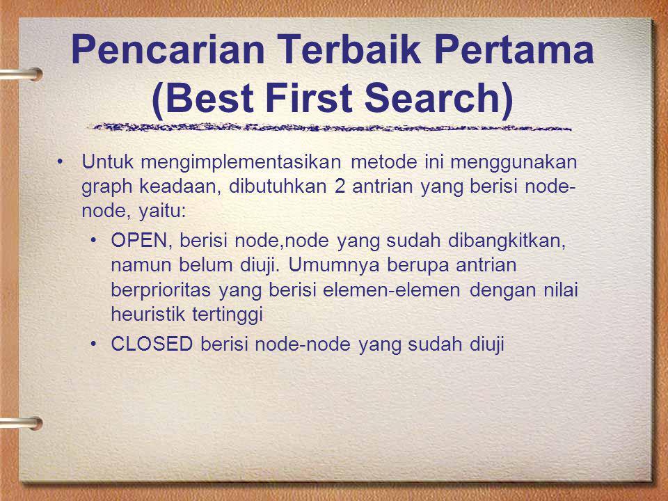 Pencarian Terbaik Pertama (Best First Search) Untuk mengimplementasikan metode ini menggunakan graph keadaan, dibutuhkan 2 antrian yang berisi node- n
