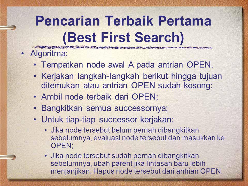 Pencarian Terbaik Pertama (Best First Search) Algoritma: Tempatkan node awal A pada antrian OPEN. Kerjakan langkah-langkah berikut hingga tujuan ditem