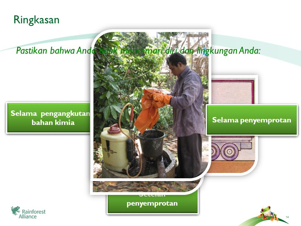 14 Ringkasan During the transportation of chemicals During the transportation of chemicals Selama pengangkutan bahan kimia After application of chemicals Setelah penyemprotan Setelah penyemprotan During application of chemicals Pastikan bahwa Anda tidak mencemari diri dan lingkungan Anda: Selama penyemprotan