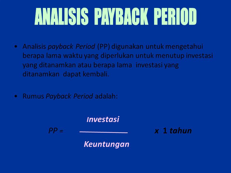 Analisis payback Period (PP) digunakan untuk mengetahui berapa lama waktu yang diperlukan untuk menutup investasi yang ditanamkan atau berapa lama inv