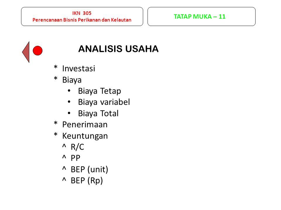 ANALISIS USAHA * Investasi * Biaya Biaya Tetap Biaya variabel Biaya Total * Penerimaan * Keuntungan ^ R/C ^ PP ^ BEP (unit) ^ BEP (Rp) IKN 305 Perencanaan Bisnis Perikanan dan Kelautan TATAP MUKA – 11