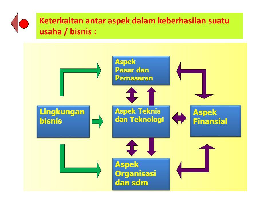 Keterkaitan antar aspek dalam keberhasilan suatu usaha / bisnis : Aspek Organisasi dan sdm Aspek Finansial Lingkungan bisnis Aspek Pasar dan Pemasaran