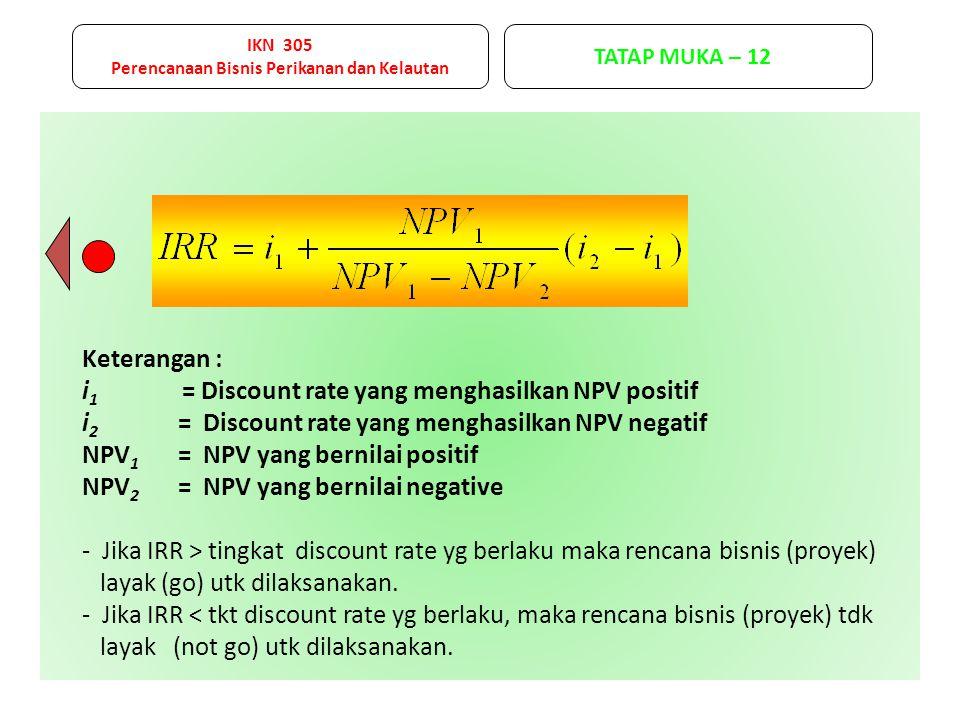Keterangan : i 1 = Discount rate yang menghasilkan NPV positif i 2 = Discount rate yang menghasilkan NPV negatif NPV 1 = NPV yang bernilai positif NPV