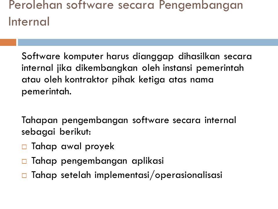 Perolehan software secara Pengembangan Internal Software komputer harus dianggap dihasilkan secara internal jika dikembangkan oleh instansi pemerintah atau oleh kontraktor pihak ketiga atas nama pemerintah.