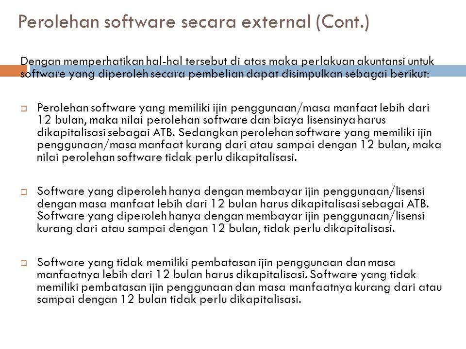 Perolehan software secara external (Cont.) Dengan memperhatikan hal-hal tersebut di atas maka perlakuan akuntansi untuk software yang diperoleh secara