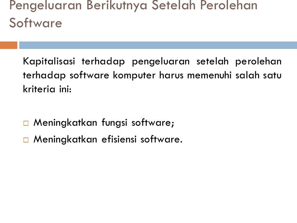 Pengeluaran Berikutnya Setelah Perolehan Software Kapitalisasi terhadap pengeluaran setelah perolehan terhadap software komputer harus memenuhi salah satu kriteria ini:  Meningkatkan fungsi software;  Meningkatkan efisiensi software.