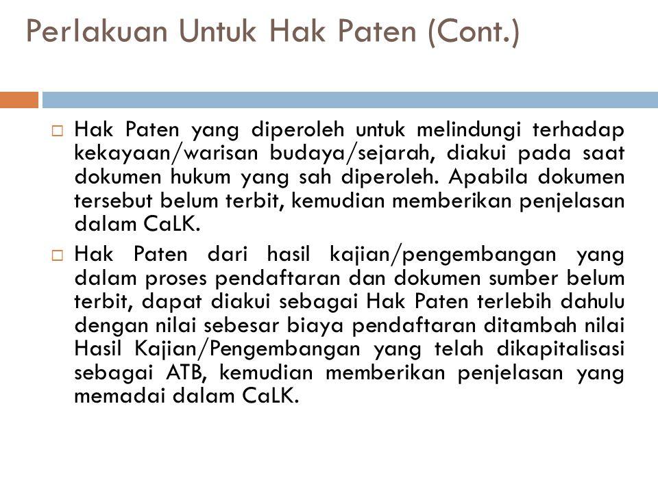 Perlakuan Untuk Hak Paten (Cont.)  Hak Paten yang diperoleh untuk melindungi terhadap kekayaan/warisan budaya/sejarah, diakui pada saat dokumen hukum yang sah diperoleh.