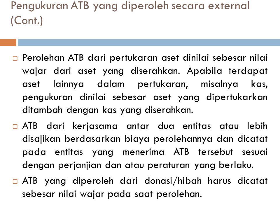 Pengukuran ATB yang diperoleh secara external (Cont.)  Perolehan ATB dari pertukaran aset dinilai sebesar nilai wajar dari aset yang diserahkan. Apab