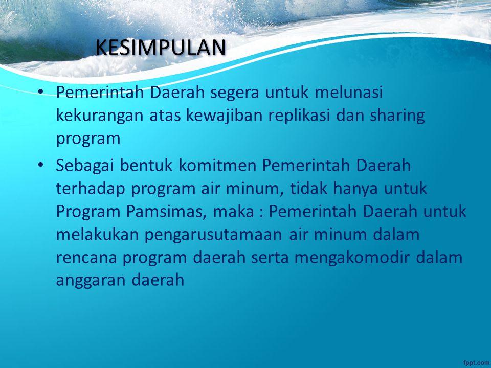 KESIMPULAN Pemerintah Daerah segera untuk melunasi kekurangan atas kewajiban replikasi dan sharing program Sebagai bentuk komitmen Pemerintah Daerah t